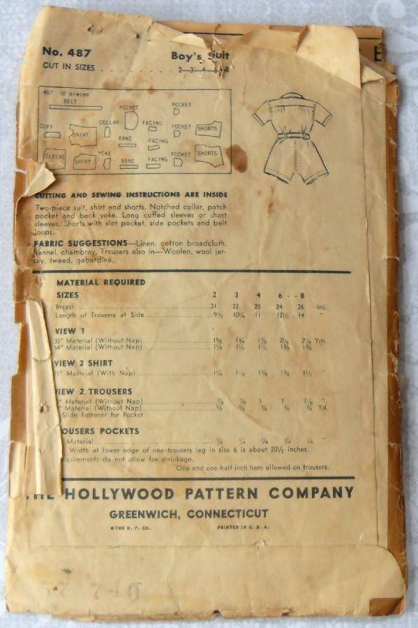 Boys Shirt Shorts. 1940s Pattern. sz 6. Two pc Little Boys Suit. Picture Outfit. Hollywood 487. - product images  of