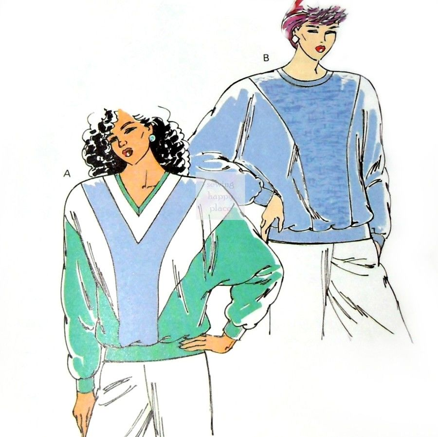 Oversize Dolman Sleeve Sweatshirt 1980s Pattern. V Panels For Color Block. Kwik Sew 1922 - product images  of