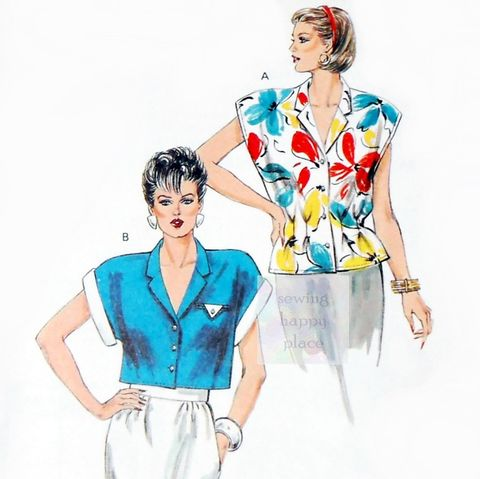 Summer,Camp,Shirt,Blouse,Crop,Top,1980s,Pattern.,Drop,Shoulder,,Relaxed,Fit.,sewinghappyplace, Sewing Pattern, Vintage