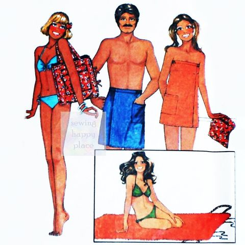 Summer,Beach,Mat,1970s,Pattern.,Unisex,Swimsuit,Coverup,Shower,Wrap.,sewinghappyplace, Sewing Pattern, Vintage