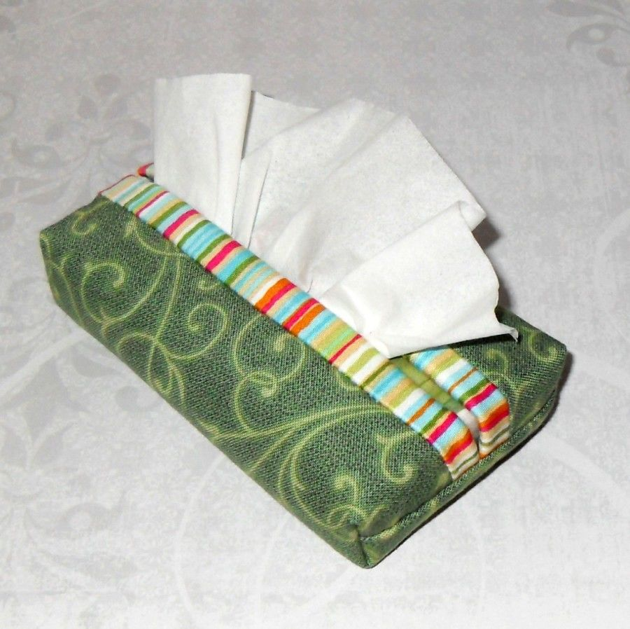 Verdant Boxy Pocket Purse Tissue Case. Ecofriendly. Travel Tissue Cozy. Fits Purse Pack. Green Fabric. - product images  of