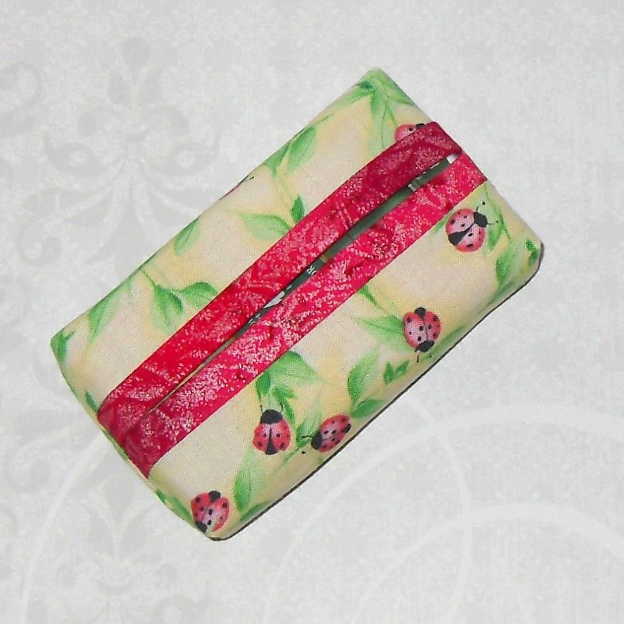 Lil Ladybug Boxy Pocket Purse Tissue Case. Ecofriendly. Travel Tissue Cozy. Fits Purse Pack.  - product images  of