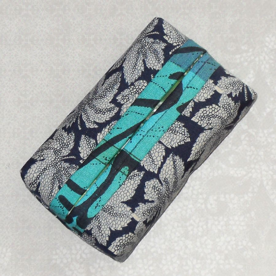 Blue Leaf Boxy Pocket Purse Tissue Case. Ecofriendly. Travel Tissue Cozy. Fits Purse Pack. - product images  of