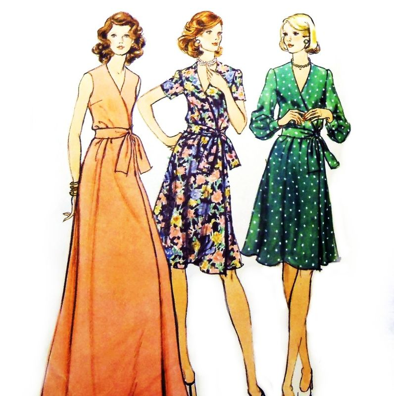 semi fitted wrap dress 1970s pattern  knee or evening