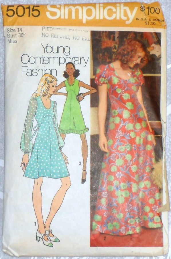 Form Fitting Empire Waist Dress Gown 1970s Pattern. Flowy Romantic Disco Dress. - product images  of