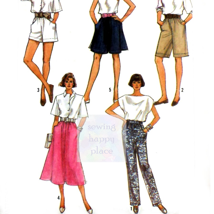 Walking Shorts. Trousers. Full Skirt. 1980s Pattern. Classic Office Separates. - product images  of