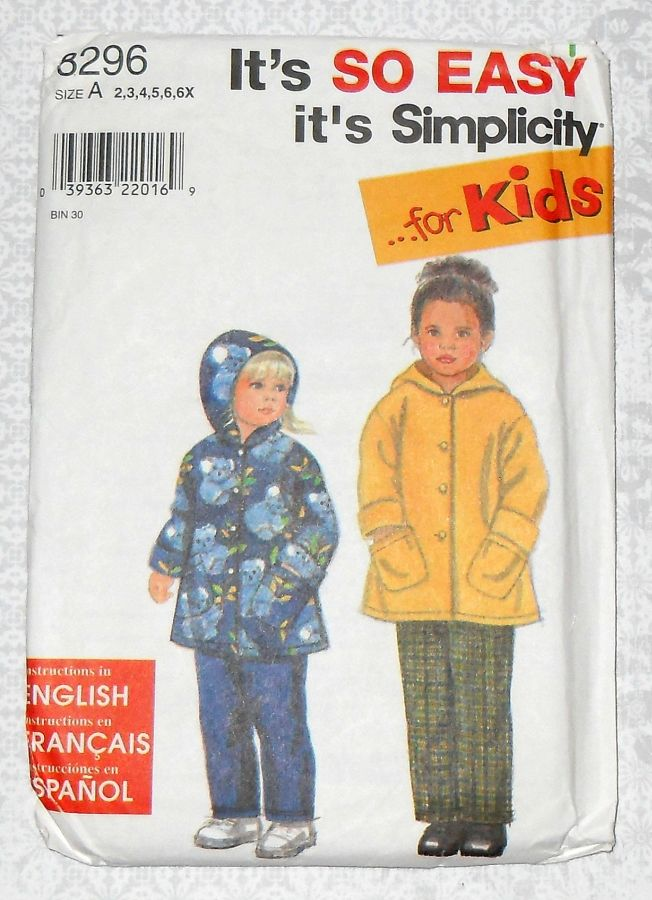 Child's Toddler Sewing Pattern - Hoodie Coat, Pull on Pants. Boy Girl Unisex. Simplicity 8296. - product images  of