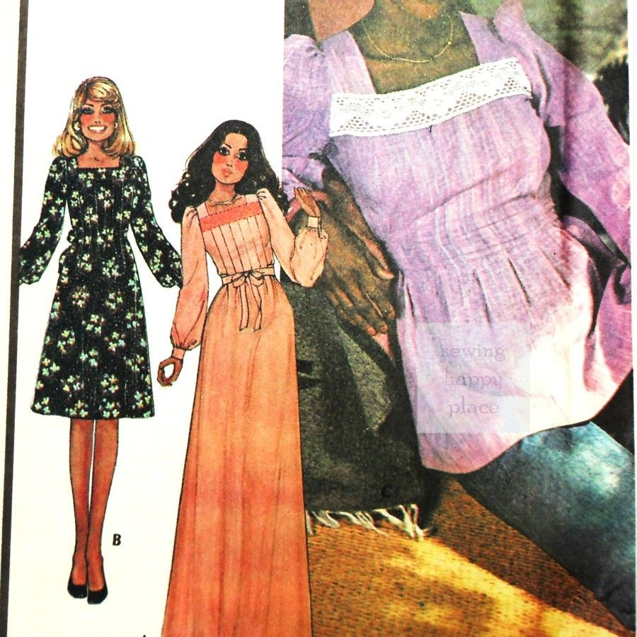 Dress Top Boho Prairie. 70s Sewing Pattern. Lace Tucks. Square Neckline. Maxi Dress. Retro Romantic. - product images  of