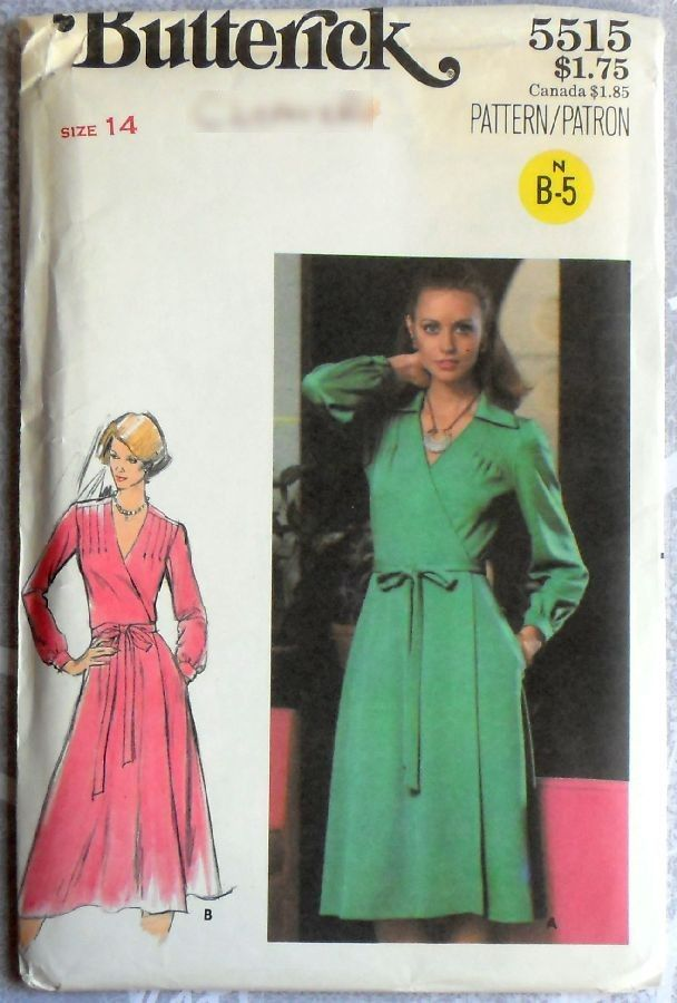 Wrap Dress w Shoulder Tucks. 1970s Pattern. Pointed Collar. Uncut FF. - product images  of