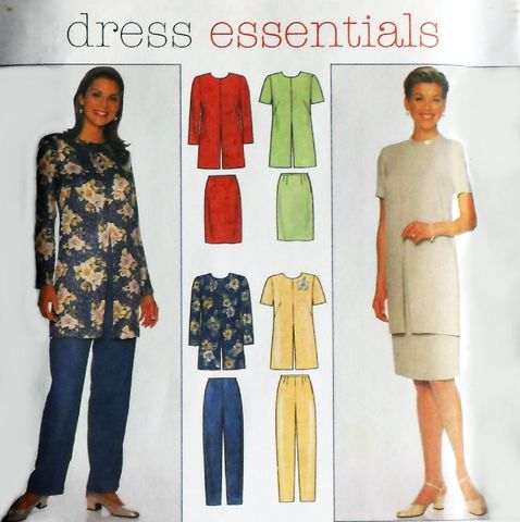 Dressy,Separates,,Tunic,Skirt,Pants,1990s,Pattern.,Jewel,Neck.,Front,Slit.,Office,Travel.,sewinghappyplace, Sewing Pattern, Vintage
