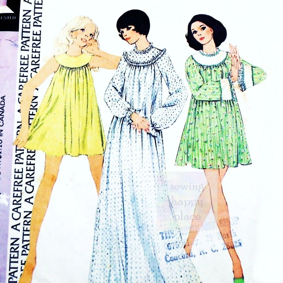 Babydoll Shorty Nightgown 1970s Pattern. Full Cut. Round Yoke. - product images  of