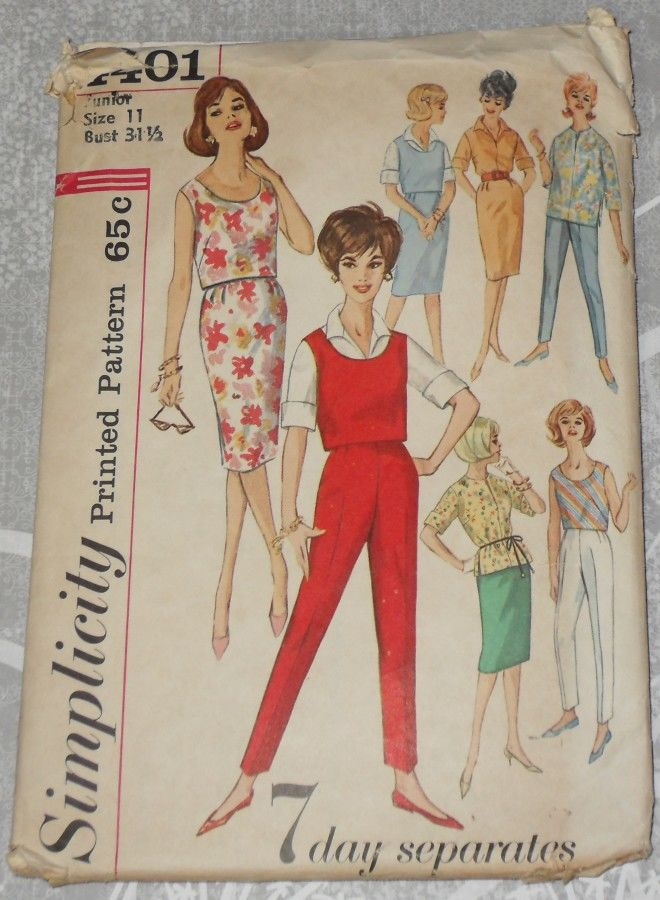 Juniors Summer Casual Separates Wardrobe 1960s Pattern. Pullover Top - product images  of