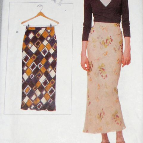 Misses,Bias,Skirt,Slim,Fit,1990s,Pattern.,Two,Lengths.,Deep,Back,Slit.,sewinghappyplace, Sewing Pattern, Vintage