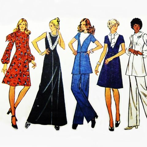 Dress,w,Deep,V,Yoke,Detail,1970s,Pattern.,Tunic,Wide,Leg,Pants.,Bow.,Mini,Maxi,Shift,Dress.,sewinghappyplace, Sewing Pattern, Vintage