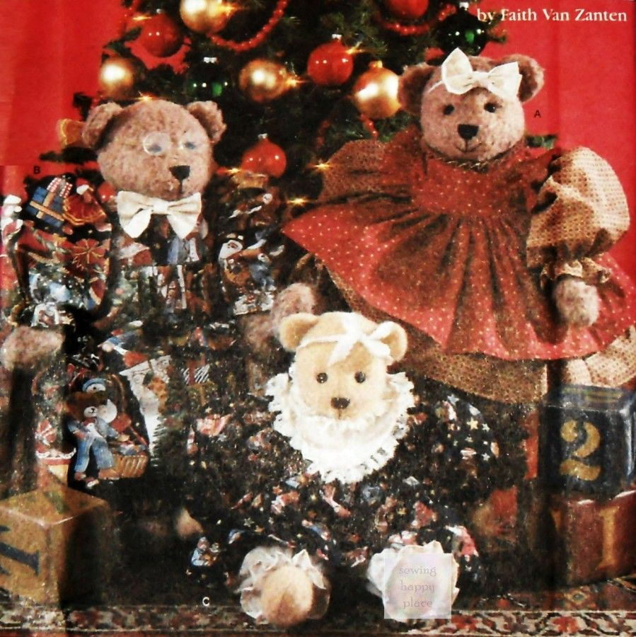 Christmas Decor Sewing Pattern. Fancy Holiday Bears and Clothes. 3 Bears, Mama, Papa, Baby. Van Zanten.  - product images  of