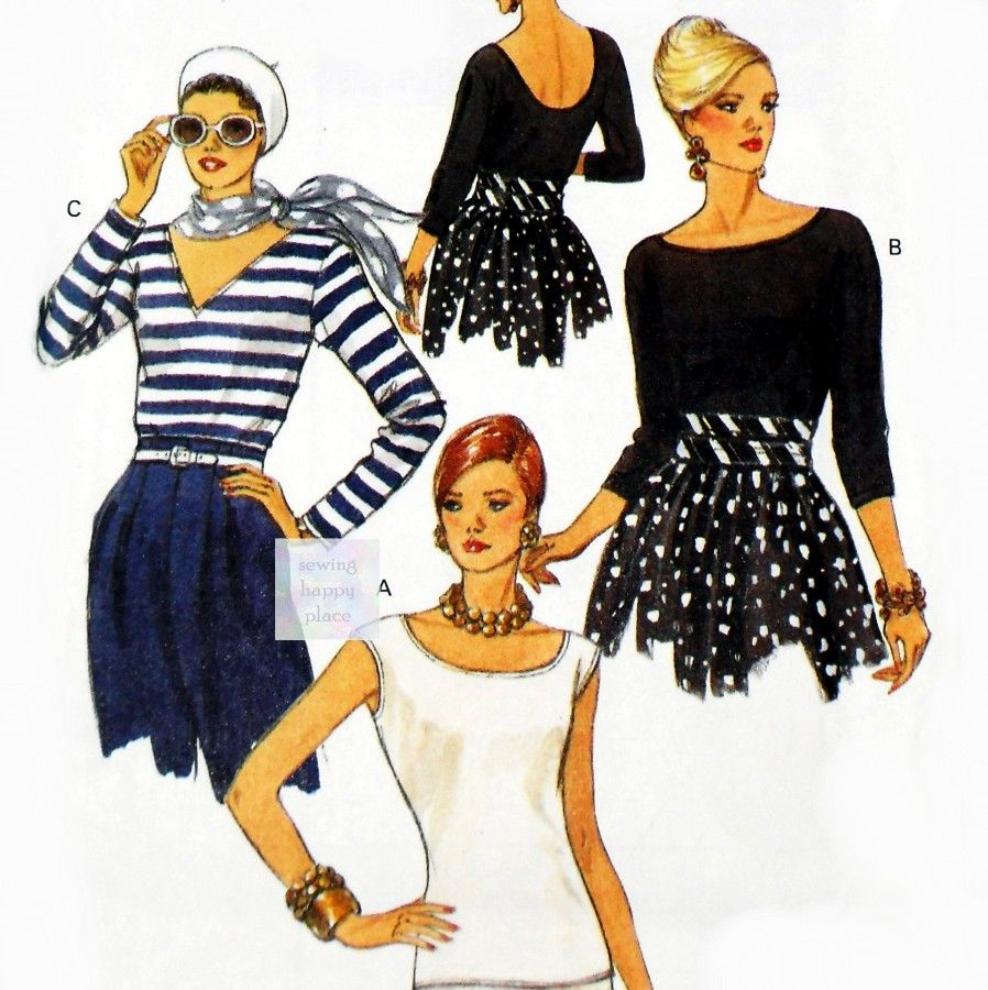 Misses Close Fitting Pullover Knit Tops 1990s Pattern. Scooped Neckline. V Neckline. Back Scoop Neckline - product images  of