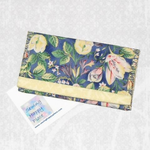 Sugar,Magnolia.,Fabric,Gift,Card,Wallet.,Business,Holder.,Mini,Blue,Floral.,sewinghappyplace, Fabric, Gift Card, Wallet, Business Card Holder, Mini Wallet, purse tea cozy, sweetener purse pack, shpf