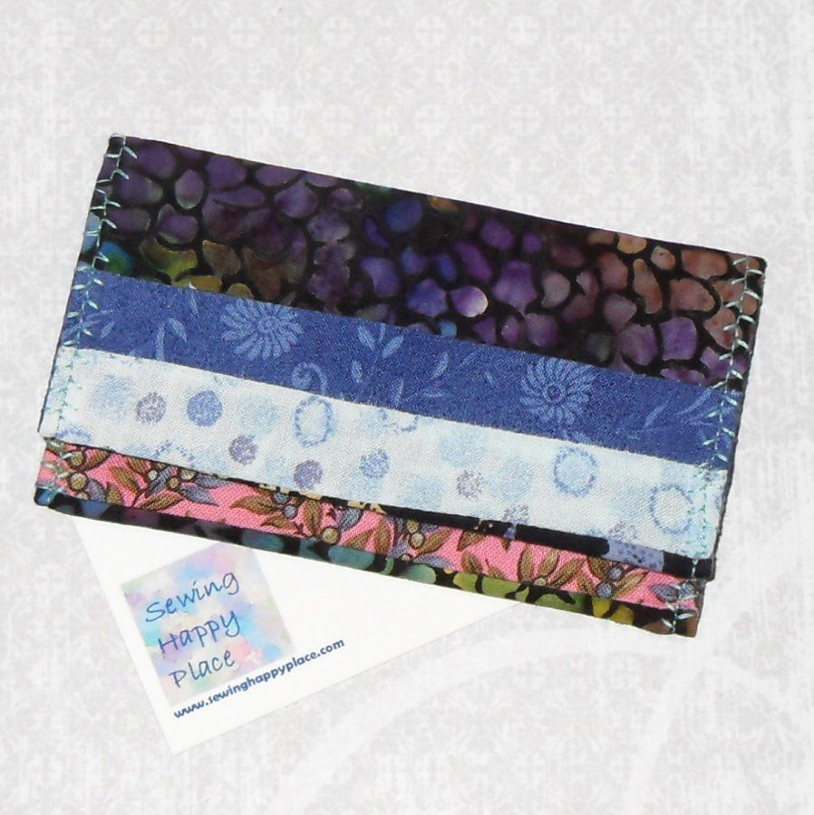 Lavender Dark. Fabric Gift Card Wallet. Business Card Holder. Mini Wallet. String Pieced. - product images  of