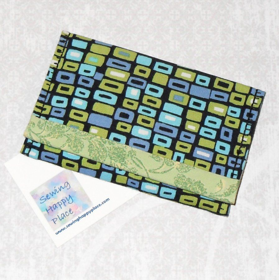 Mod Pods. Fabric Gift Card Wallet. Business Card Holder. Mini Wallet. Green Black Abstract Print - product images  of