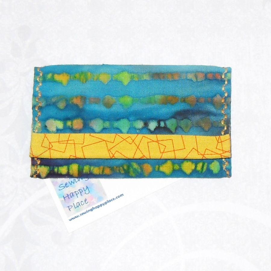 Shimmering Waters. Fabric Gift Card Wallet. Business Card Holder. Mini Wallet. Watery Aqua Blues.  - product images  of