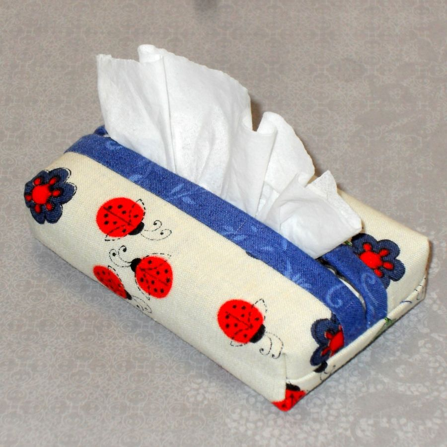 July Ladybugs Boxy Pocket Purse Tissue Case. Ecofriendly. Travel Tissue Cozy. Fits Purse Pack. - product images  of