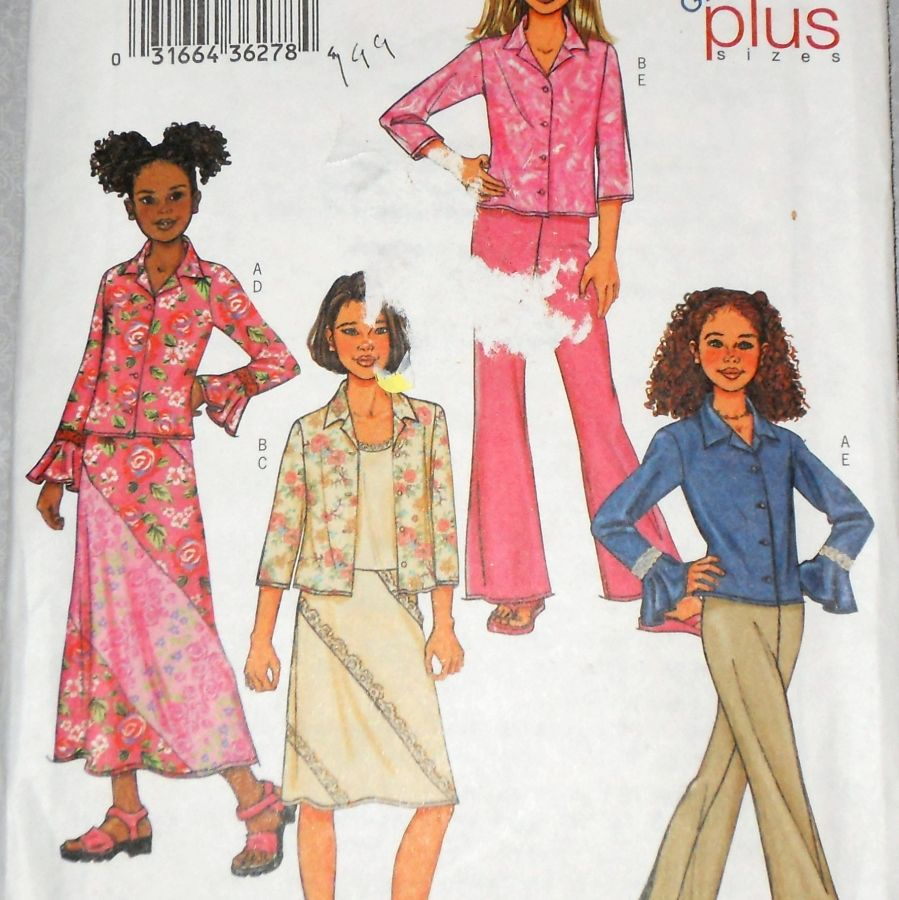 Girls Separates Pattern. Flounce and Lace Detail. Skirt Blouse Pants - product images  of