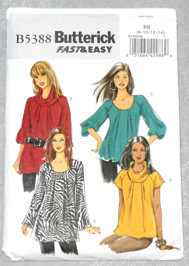 Misses Loose Fit Tunic Top Pattern. Raglan Sleeve. Bell Sleeve, Puff Sleeve, Scoop Neck, Cowl Collar. - product images  of