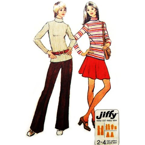 Retro,Mod,Top,Mini,Skirt,Pants,1970s,Pattern.,Circle,Skirt.,Jiffy,sewinghappyplace, Sewing Pattern, Vintage