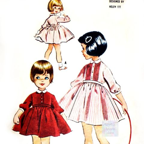 Helen,Lee,Little,Girl,Dress,1950s,Pattern.,Full,Skirt,Attached,Petticoat.,Ruffles.,Back,Tie,Belt.,sewinghappyplace, Sewing Pattern, Vintage