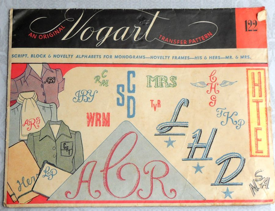 Mid Century Monograms. 1940s Embroidery Transfer. Vogart 122. Script Block Frame. - product images  of