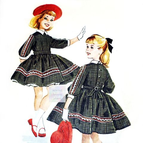 Girls,Dress,and,Petticoat,1950s,Pattern.,Helen,Lee.,Full,Skirt.,Rick,Rack,Braid,Trim.,sewinghappyplace, Sewing Pattern, Vintage