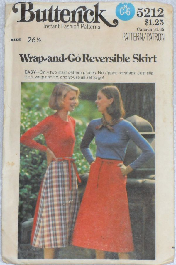 Reversible Wrap Skirt. 1970s Pattern. Large Pockets. Uncut FF. Preppy Traditional. - product images  of