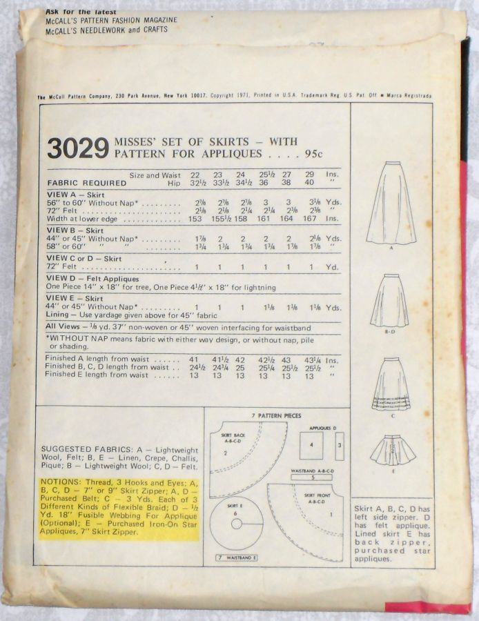 Bias Full Circle Skirt/ Mini Midi Maxi/ 1970s Pattern/ W 27/ Uncut FF - product images  of