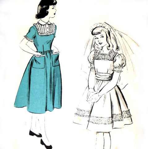 Girls,Frilly,Dress,1950s,Pattern,Puff,Sleeve,Full,Skirt,Party,Dressy,Sash,Bow,sewinghappyplace, Sewing Pattern, Vintage