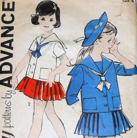 Girls,2pc,Dress,60s,Pattern.,Middy,Blouse,Sailor,Collar,Pleated,Skirt,sewinghappyplace, Sewing Pattern, Vintage