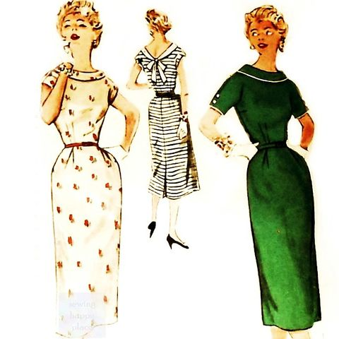 Sheath,Dress,1950s,Pattern.,Slim,Wiggle,Dress.,Walk,Away,V,Neckline,in,Back.,sewinghappyplace, Sewing Pattern, Vintage