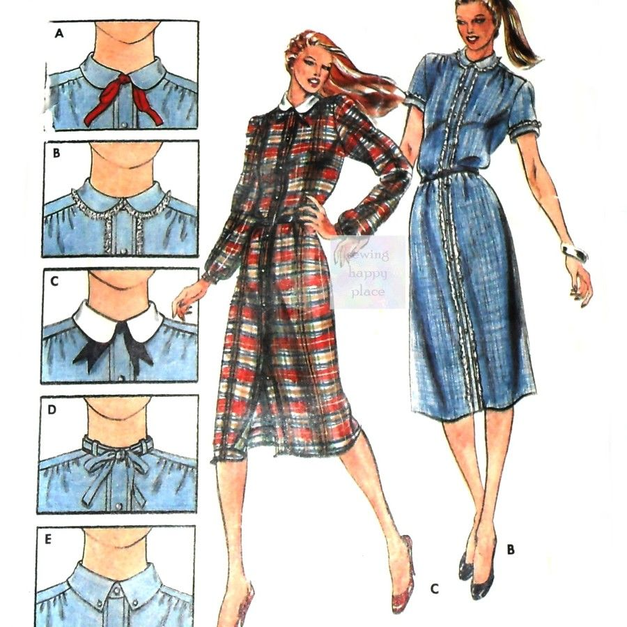 Slim Shaped Shirtdress. 70s Pattern.  5 Collar Options. Butterick 3185 - product images  of