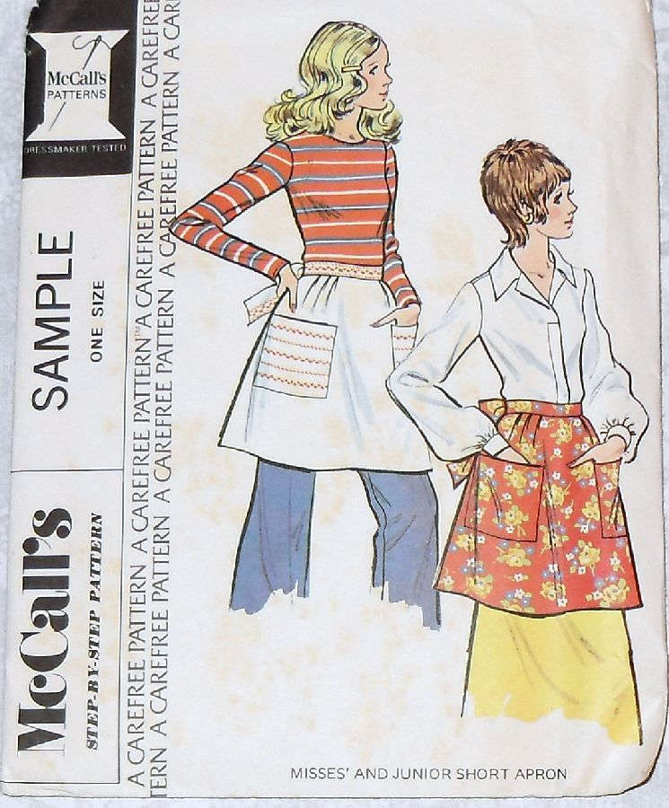 Big Pocket Apron 1970s Pattern. Embroidery w Rick Rack Embellished. - product images  of
