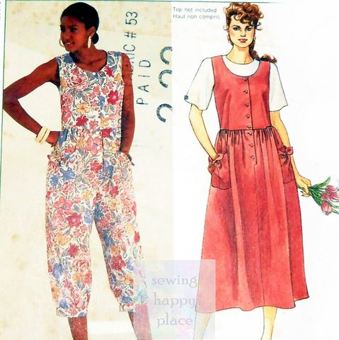 Relaxed,Bodice,Jumpsuit,Romper,Sundress,1990s,Pattern.,Deep,Scoop,Neckline.,sewinghappyplace, Sewing Pattern, Vintage