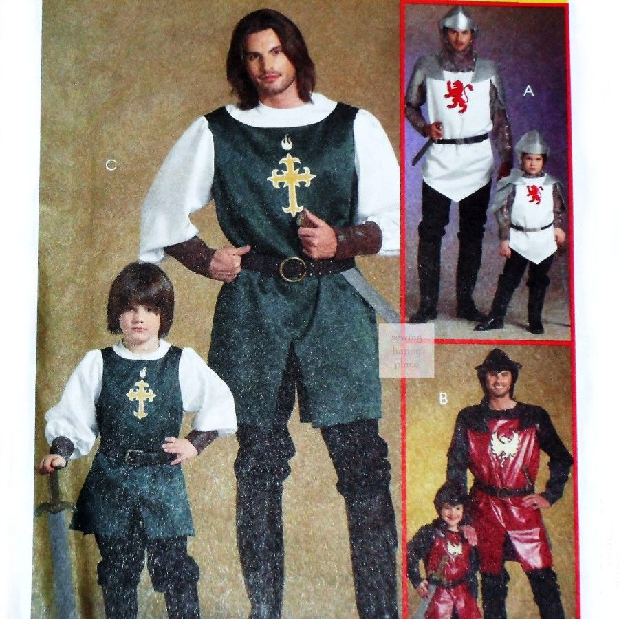 Mens Costume Pattern. RenFaire Knight Ninja. Doublet Tabard McCalls 5500 - product images  of