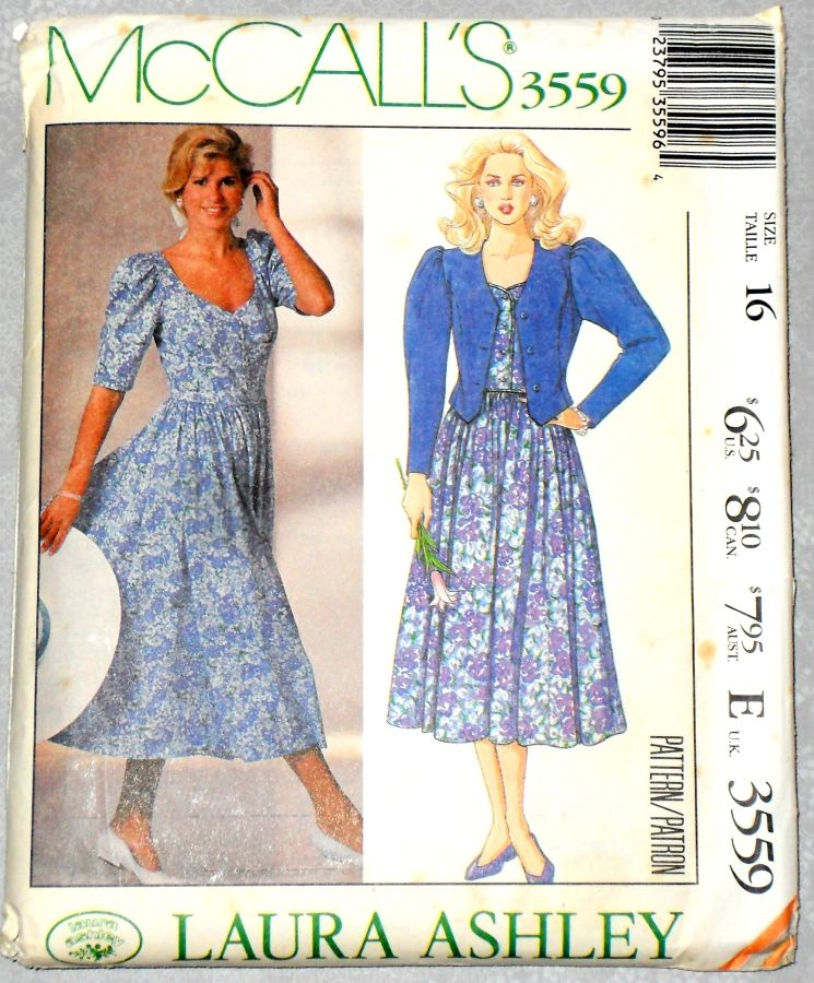 Jacket Dress 1980s Pattern. Bodice Dress Full Skirt. Sweetheart Neckline. Designer Laura Ashley. - product images  of