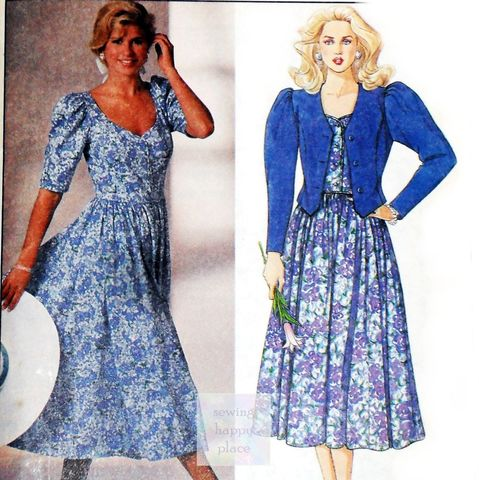 Jacket,Dress,1980s,Pattern.,Bodice,Full,Skirt.,Sweetheart,Neckline.,Designer,Laura,Ashley.,sewinghappyplace, Sewing Pattern, Vintage
