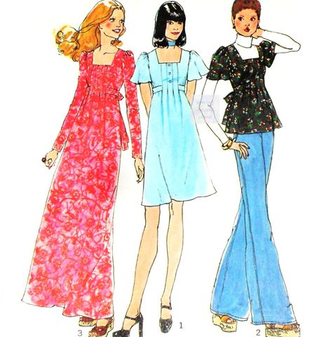 Babydoll,Smock,Dress,or,Tunic,1970s,Pattern.,Square,Neckline.,Tucks.,Flutter,Sleeves.,sewinghappyplace, Sewing Pattern, Vintage