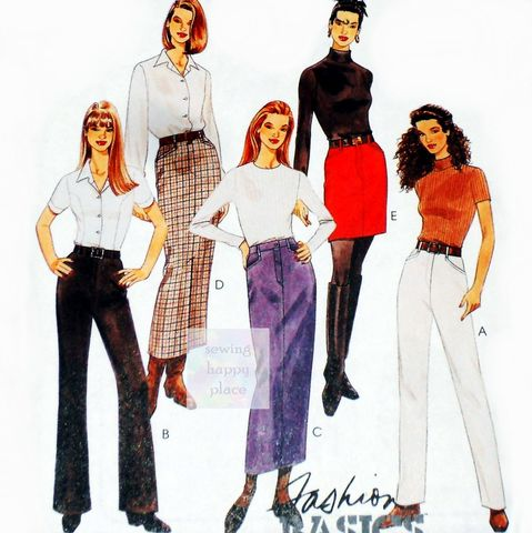 Slim,Basics,Pants,Skirts,1990s,Pattern.,Pencil,Skirt.,Jeans,,Casual,Trousers.,sewinghappyplace, Sewing Pattern, Vintage