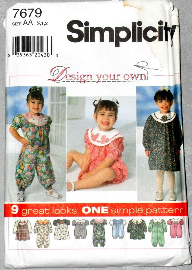 Toddler Whimsical Dress or Romper 1990s Pattern. Applique Detail. - product images  of