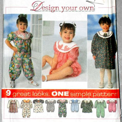 Toddler,Whimsical,Dress,or,Romper,1990s,Pattern.,Applique,Detail.,sewinghappyplace, Sewing Pattern, Vintage