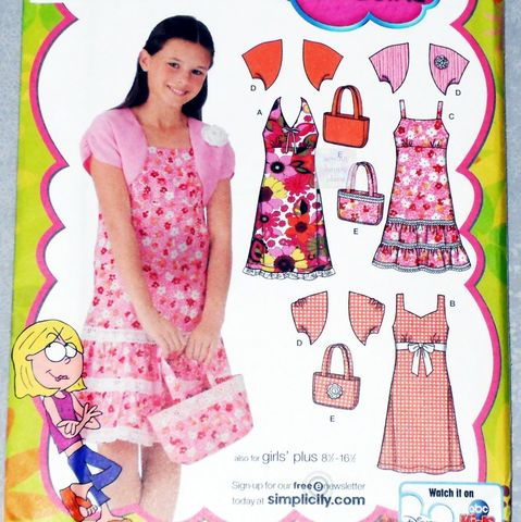 Girls,Plus,Size,Sundress,w,Shrug,Jacket,and,Purse,Tote.,Lizzie,McGuire,Pattern.,sewinghappyplace, Sewing Pattern, Vintage