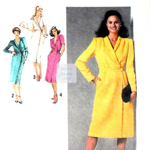 Dressy,Tuxedo,Collar,Wrap,Dress,70s,Pattern.,Slim,Skirt.,sewinghappyplace, Sewing Pattern, Vintage