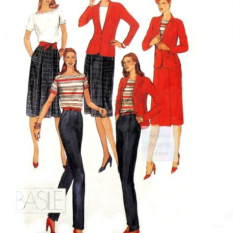 Sexy,Suit,Separates,1980s,Pattern.,Designer,Basile.,Princess,Panel,Jacket.,sewinghappyplace, Sewing Pattern, Vintage