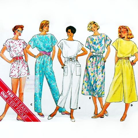 Drop,Shoulder,Dress,Jumpsuit,1980s,Pattern.,Relax,Fit.,Boat,Neckline.,sewinghappyplace, Sewing Pattern, Vintage